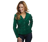 Joan Rivers Velvet Signature Jacket with Ruching Detail - A218101