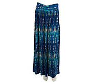 Belle Gray by Lisa Rinna Ikat Print Crossover Waist Maxi Skirt - A231401