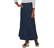 Denim & Co. Long Denim Gore Skirt with Elastic Waist - A220602