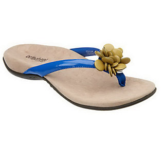 Orthaheel Fleur Orthotic Thong Sandals with Flower Detail