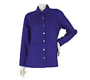 Quacker Factory Rhinestone Spray Shirt Jacket - A202603