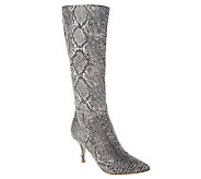 B. Makowsky Leather Snake Embossed Tall Shaft Boots - A216203