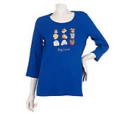 Quacker Factory Pet Lover 3/4 Sleeve T-shirt - A216403