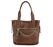 B.Makowsky Glove Leather Tote with Chain Detail - A219203