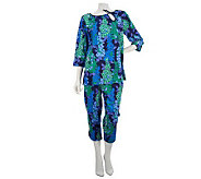 Bob Mackies Wisteria Print 3/4 Sleeve Top & Capri Pants Lounge Set - A228203