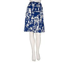 Susan Graver Lotus Stretch Printed Pull-on Skirt w/Pockets