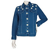Bob Mackies Embroidered Daisy Jacket w/Daisy Detail - A200404
