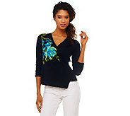 Susan Graver Liquid Knit Placement Print Surplice Top - A221304