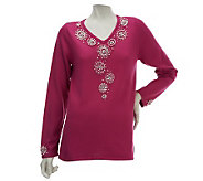 Quacker Factory Pearl Embellished Long Sleeve V-Neck Sweater - A226204