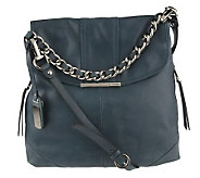 B. Makowsky Vintage Leather Convertible Flap Hobo with Chain Strap - A219005