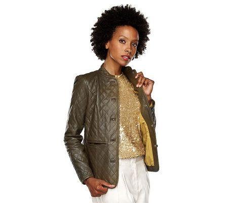 Isaac Mizrahi Live Lamb Leather Button Front Jacket —