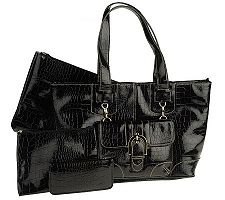 Croco Embossed Patent Tote Bag with Crossbody and Accessories