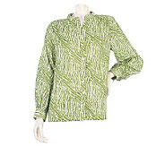 Susan Graver Cotton Lawn Printed Top with Mandarin Collar - A215109