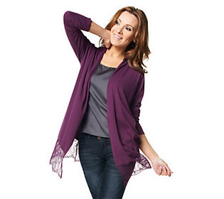 Joan Rivers Lace Accented Draped Front Cardigan