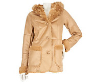 Dennis Basso Distressed Faux Shearling Coat w/Hood and Fur Lining - A228109