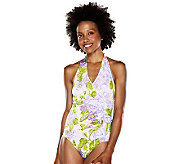 Isaac Mizrahi Live! Carolina Floral Side Ruched Halter Swimsuit - A202510