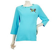 Quacker Factory Jeweled Design 3/4 Sleeve T-shirt - A221810