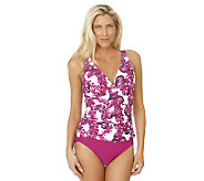 Ocean Dream Signature Plumeria Cove Shirred Front 1-pc Swimsuit - A231612