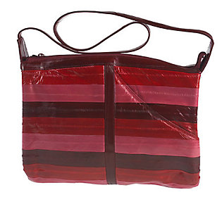 Lee Sands Multi-Color Striped Eelskin Zip Top Handbag