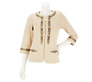 Bob Mackies Zip Front Embroidered Jacket with Front Pockets - A231813
