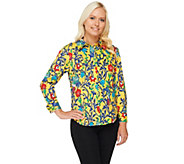 Linea by Louis DellOlio All-Over Print Button Front Long Sleeve Top - A232513