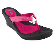 Skechers Studded Thong Sandals on Wedge Heel - A216114