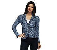 Isaac Mizrahi Live! Shadow Rose Jacquard Sweater Blazer - A229915