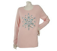 Quacker Factory Long Sleeve Turquoise Snowflake Sweater - A204116