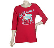 Quacker Factory Old Fashioned Christmas 3/4 Sleeve T-Shirt - A218216