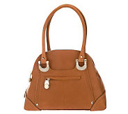 B. Makowsky Glove Leather Zip Top Satchel with Front Zipper Pocket - A212817