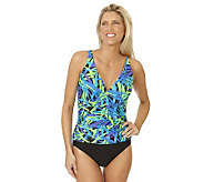 Ocean Dream Signature Falling Leaves Shirred Front 1-pc Swimsuit - A231617