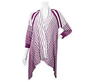 Attitudes by Renee 3/4 Sleeve Graduated Stripe Cardigan - A231917