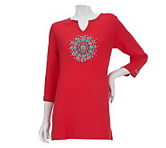 Quacker Factory 3/4 Sleeve Medallion Knit Tunic - A224418