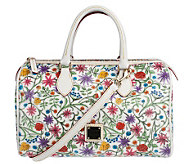 Dooney & Bourke Floral Coated Fabric Classic Satchel w/Leather Trim - A215819