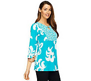 Susan Graver Liquid Knit Printed 3/4 Sleeve Tunic - A222421