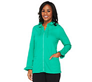 Quacker Factory Diamond Studded Zip Front Jacket w/ Ruffle Trim - A226221
