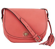 Isaac Mizrahi Live! Bridgehampton Pebble Leather Flap Crossbody - A233221