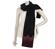 Bob Mackies Fleece Embroidered Scarf - A210723