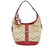Tignanello Signature Print Hobo Bag w/ Front Buckle Detail - A226323