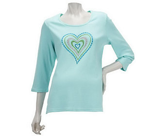 Quacker Factory Sparkle and Shine Motif 3/4 Sleeve T-shirt