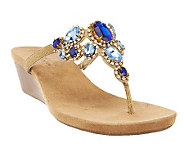 White Mountain Chrysalis Leather Thong Wedge Sandals w/ Rhinestones - A232324