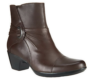 clarks leather ankle boots w ruching ingalls rosa qvc