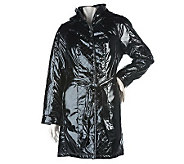 Dennis Basso Faux Patent Leather Coat with Quilted Panel Detail - A219625