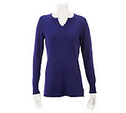 Liz Claiborne New York Cotton Cashmere Split Neck Sweater - A229225