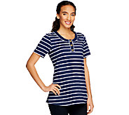 Denim & Co. Short Sleeve Striped Henley Tunic - A214527