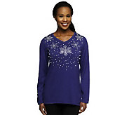 Quacker Factory Long Sleeve Snowflake Pearl Sweater - A211028
