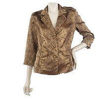 Joan Rivers Textured Metallic Python Pattern Jacket