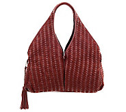 Sondra Roberts Napa & Suede Woven Hobo with Hidden Pockets & Zip Closure - A228528