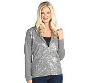 Quacker Factory Sequin Zip Front Knit Jacket w/Hood - A203829