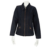 Denim & Co. Long Sleeve Jean Jacket w/ Zip Front and Zip Pockets - A227329